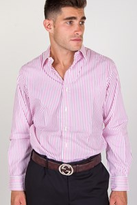 Polo Ralph Lauren White Cotton Shirt with Pink Stripes / Size: L - Fit: M